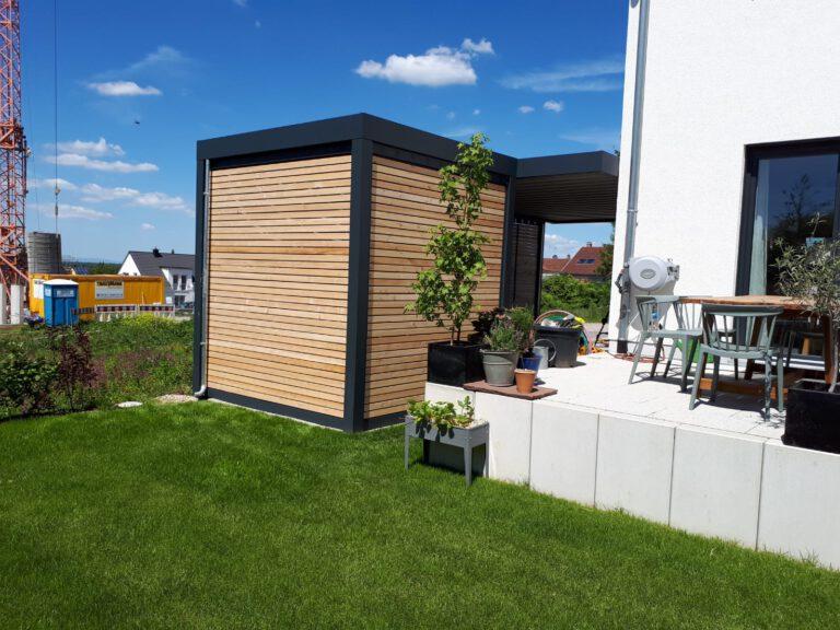 Anbau-Gerätebox mit Holzlattung Rhombus