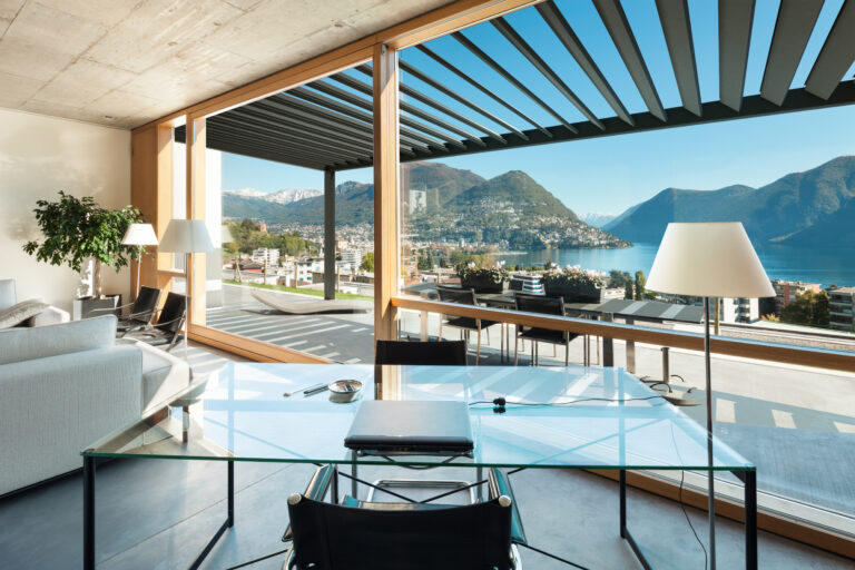 beautiful modern house in cement, interiors, view from the living room